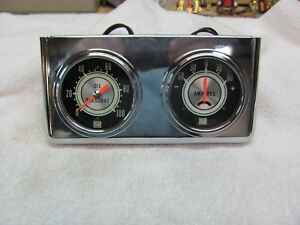 Stewart Warner Greenline 2 5 8 Amp Meter Oil Pressure Vintage 1968 Panel Set