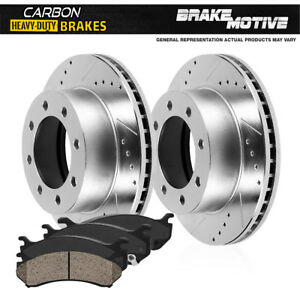 Rear Drill Slot Brake Rotors Carbon Ceramic Pads For 2013 2015 Ford F250 F350
