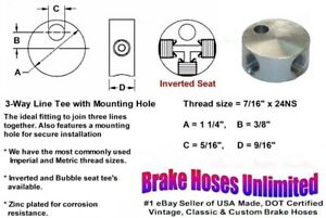 Female Brake Line Tee 7 16 X 24ns Inverted Seat With Mounting Hole