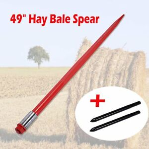 49 Tractor Hay Spear W 2 Stabilizers Bale Spike Fork Tine Skid Steer 3000 Lbs