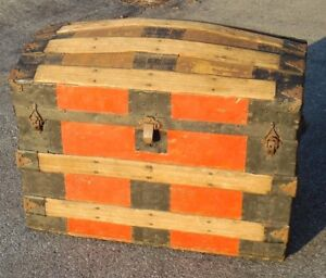 Antique Dome Top Trunk Painted Red Musty Mildew Odor Inside