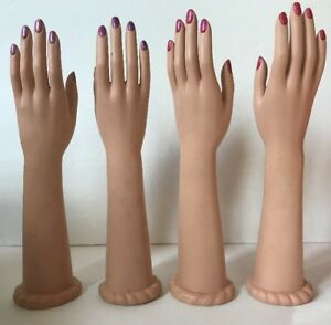 2 Sets Vintage Rubber 15 Mannequin Hands Female Right Left Set Lot Display Arm