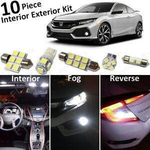 White Led Interior Lights reverse fog Package 2016 2018 2019 Honda Civic tool