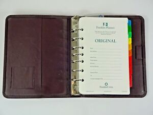 Nos 1998 Franklin Covey Zip Brown Full Grain Leather 7 Ring Planner Binder Paper