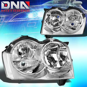 For 2005 2007 Jeep Grand Cherokee Replacement Headlight Lamp Chrome Clear Lens