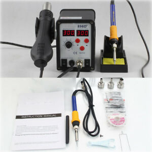 2in1 Smd Soldering Iron Hot Air Rework Station W Tips Nozzle Stand Holder 898d