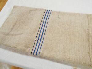 Vtg Antique Indigo Blue Stripe European Hemp Linen Feed Sack Grain Bag 21x45