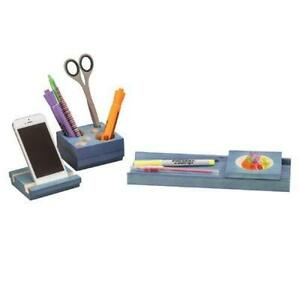 Safco Blue Splash Wood Desk Set 2 3 Height X 10 6 Width X 3 5 Depth