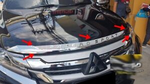 Fit For Mitsubishi Pajero Montero Sport 2016 2017 Fitt Chrome Front Bonnet Hood