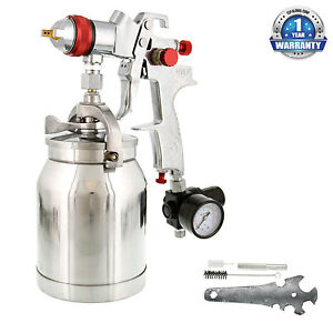 1 4mm Hvlp Suction Feed Spray Gun W Air Regulator Auto Paint Basecoat Clearcoat