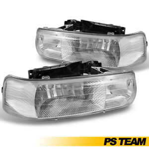1999 2000 2001 2002 Chevy Silverado Headlights Chrome Head Lamps Suburban Tahoe