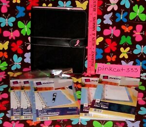 Day Timer Pink Ribbon 7 ring Black Microfiber Planner bonus Dividers