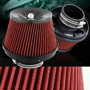 3 Carbon Style Top Red Mesh Turbo Short Ram Cold Air Intake Air Filter