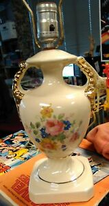 Antique Porcelain Hand Painted Flowers Urn Lamp With 24k Gold Paint Accents