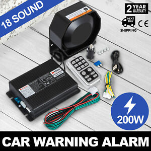 On 200w 18 Sound Loud Car Warning Alarm Police Fire Siren Pa Mic System Led Up