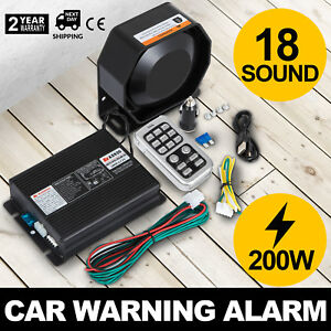 On 200w 12v 18 Sound Loud Car Warning Alarm Police Fire Siren Pa Mic System Up