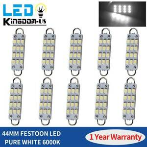10pcs 44mm Rigid Loop Festoon Led Bulbs Interior Dome Map Light White 567 561