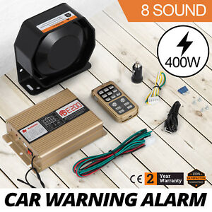 On 400w 12v 8 Sound Loud Car Warning Alarm Police Fire Siren Pa Mic System Up