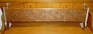 Antique Church Pew Hymnal Bible Rack Pressed Wood W Wrought Iron Ends 25