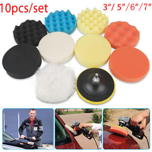 8pcs Car Polisher 5 6 7 Sponge Polishing Waxing Buffing Pads Kit Compound