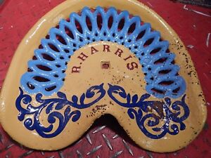 Rare R Harris Vintage Cast Iron Tractor Implement Seat Farm Collectables