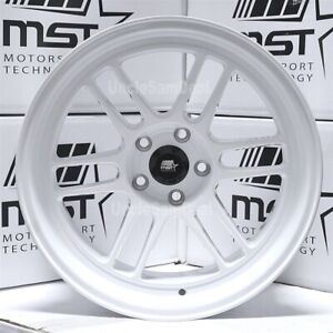 18x11 5x114 3 10 Mst Suzuka Candy White 12 Spokes Tuner Wheels Aggressive Fit