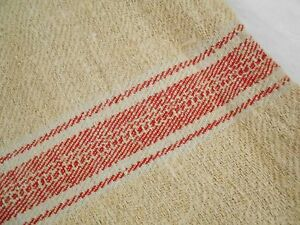 Vtg Antique Red White Stripe European Hemp Linen Feed Sack Grain Bag 21x53
