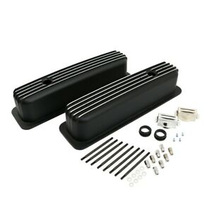 Sbc 350 Retro Vortec Tbi Chevy Finned Black Polished Fins Aluminum Valve Covers