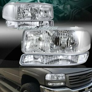 Chrome Headlights bumper Lamps W clear Reflector Fit 99 06 Gmc Sierra1500 2500