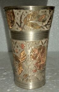 Antique Old Islamic Hand Floral Carving Brass North Indian Lassi Glass Cup Mint