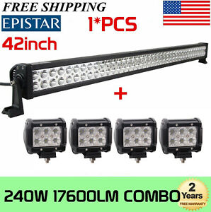 36inch 234w Led Work Light Bar Combo Offroad Boat W 4x 4inch 18w Flood Lights