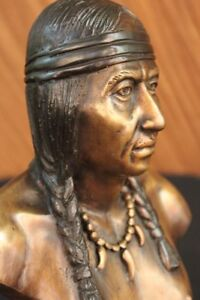 Clearance Sale Native American Indian Headdress Bronze Sculpture Figurine
