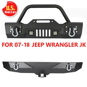 For07 18 Jeep Wrangler Jk Unlimited Front And Rear Bumper W D Rings Led Lights Y