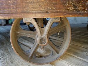 6 Foot Antique Industrial Railroad Factory Cart W Heart Shaped Wheel Center Vtg