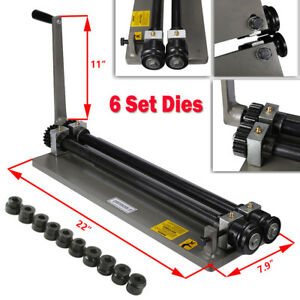 Sheet Metal Bead Roller Steel Gear Drive Bench Vice Mount 18 gauge W 6 Set Dies