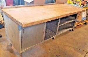 8 X 36 Bakery Vintage 3 Butcher block Stainless Cabinet Prep Table Wood Work