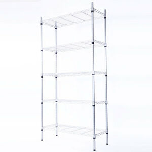 5 tier Steel Wire Metal Shelving Adjustable Steel Heavy Duty Storage Unit Shelf