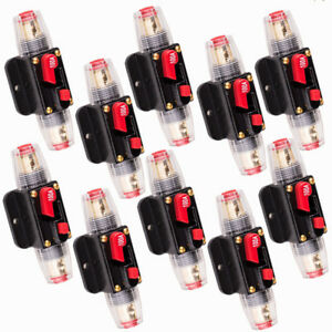10x Car Stereo Audio Dc12v Circuit Breaker Inline Fuse 100amp Fit 4 8 Gauge Wire