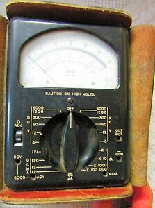 Vintage Triplett Model 630 a Volt ohm mil ammeter _original Test Leads