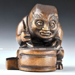 Japanese Vintage Netsuke Boxwood Wood Carving Ghost King Drum Figurine Statue