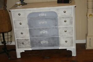 Antique Dresser Painted White Gray Black Floral Appliques Distressed Shabby Chic