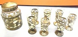 Mexican Sterling Silver Nestle Chocolate Jar 7 Cordial Glasses Tmc Rose 1940 S