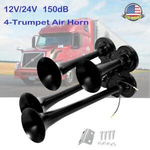 1 X 4 trumpet Air Train Horn 150db 12v 24v Kit Semi Truck Boat Black Horns Zinc