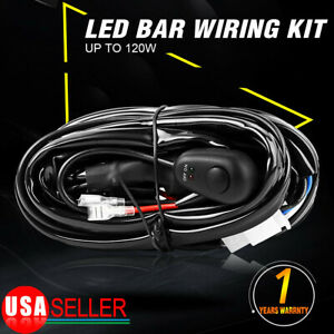 8ft Led Light Bar Wiring Harness Kit 12v 40a Fuse Relay On off Switch 1 Lead