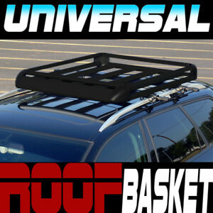 Blk Aluminum 50 Roof Rack Rail Basket Cargo Bag Utility Gear Kit Container Sc3
