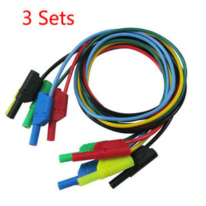 15pcs 20a 1m 4mm Cleqee Banana To Banana Multimeter Test Cable Lead 5 Color