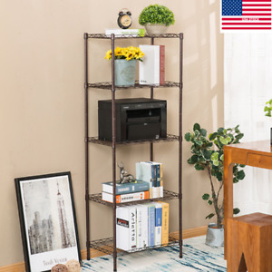 5 shelf Steel Wire Tier Layer Shelving Home Kitchen Storage Rack Cart W Wheels