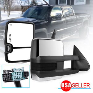 Tow Mirrors For 03 06 Chevy Silverado Sierra Chrome Power Heated Smoke Signals