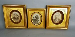 Antique Late 19th C Gold Gilt Eastlake Incised Frame Set Of 3 Rare Group Velvet