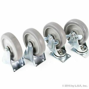 4 5 Caster Wheels Heavy Duty Set 2 Swivel 2 Side Brake No Mark Non Skid